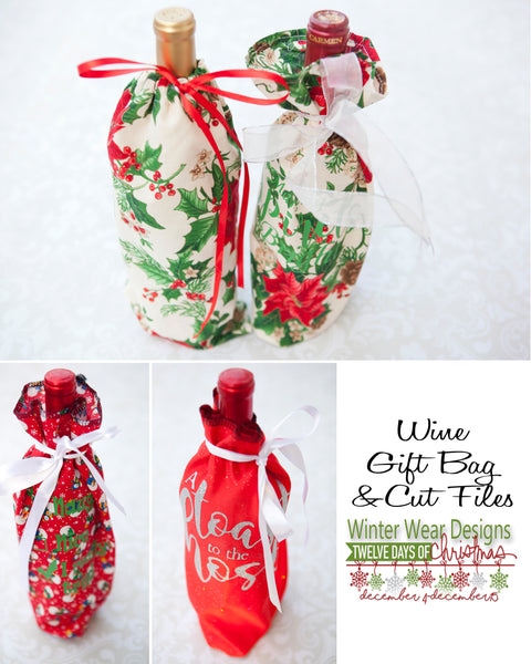 Wine Bottle Gift Bag - Free Pattern and HTV