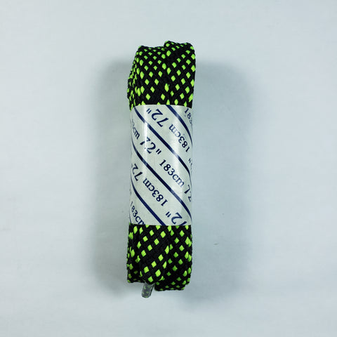 72 inch Black and Neon Yellow Checkered Lace