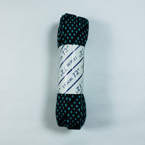 72 inch Black and Turquoise Checkered Lace