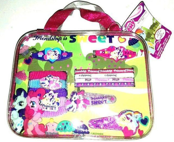 My Little Pony 13 Piece Hair Accessory Set w/Barrettes-Clips-Bonus Carry Bag - Littles Toy Company