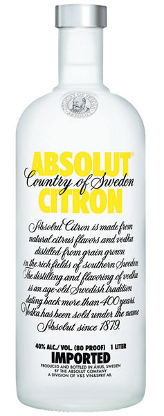 Absolut Citron Lemon Flavored Vodka