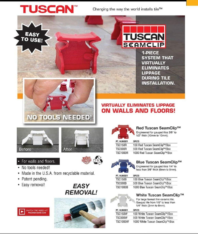 Tuscan Seamclip Red 500 pc Box