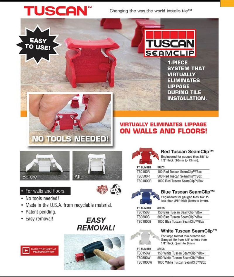 Tuscan Seamclip TSC150B - For Tile 1/4'' but less than 3/8'' thick (box of 150).