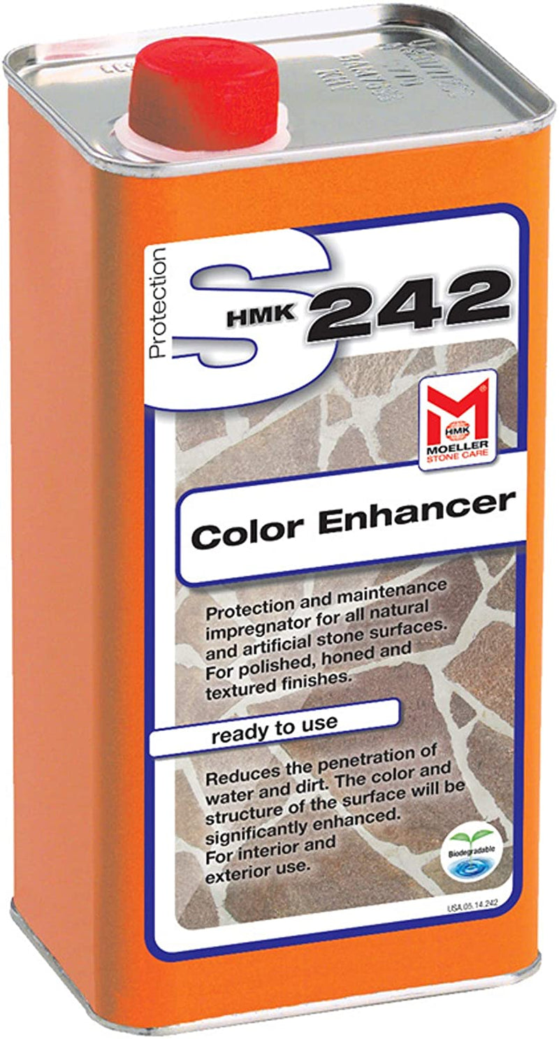 HMK S242 Enhancing Impregnator Reduces Penetration of Water and Dirt on Polished, honed and Textured finishes. Enhances Color. Solvent Based. for Interior and Exterior use. Preserving. HMKS242