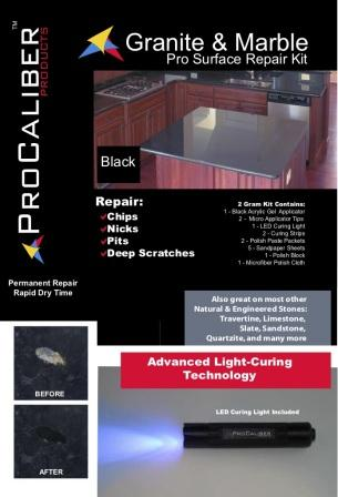 ProCaliber Products 20-13-1012 LCA Black Black Granite/Quartz and Marble PRO Chip Repair Kit, 0.07 oz.