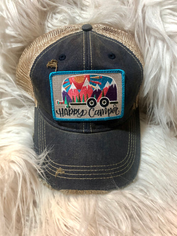 Happy Camper Patch on Navy Cap