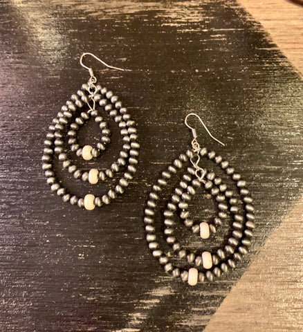 Triple Navajo Pearl & White Earrings