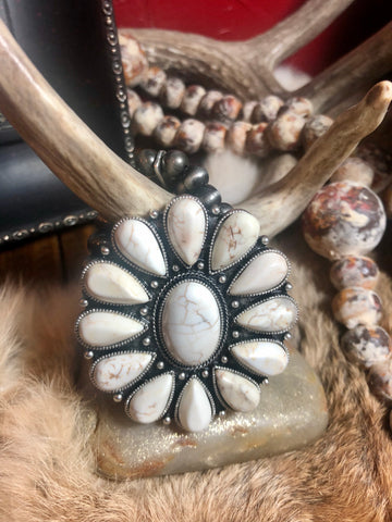 White Buffalo Cluster Stretchy Bracelet