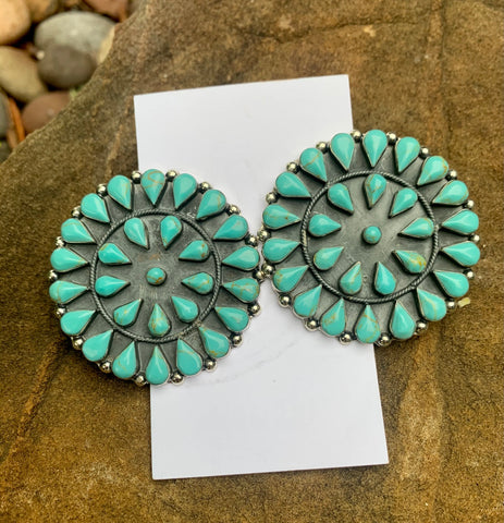 Classy Cluster Turquoise Earrings