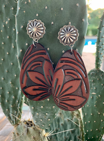 Tooled Leather Concho Earrings