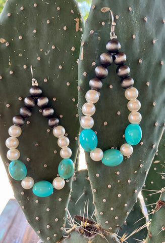 Pearl & Turquoise Hoop Earrings