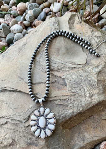White Buffalo Cluster Necklace