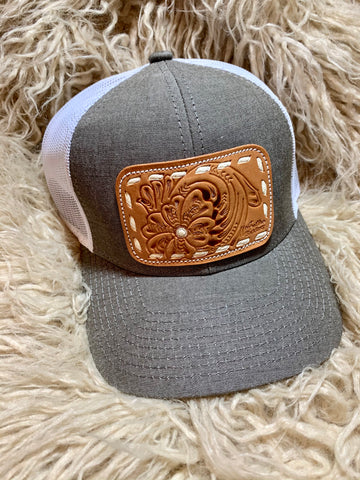 Grey Leather Tooled Patch Cap