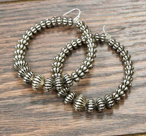 Western Beaded Hoop Earrings