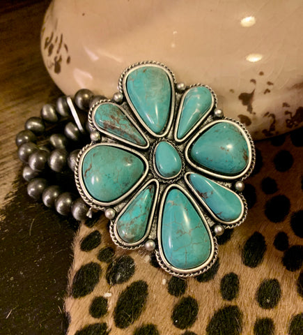 Turquoise Cluster Stretchy Bracelet