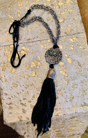 Sugar Skull Leather Tassel Necklace
