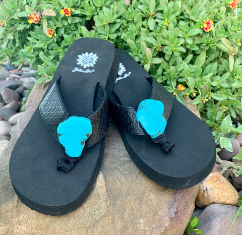 Yellowbox Turquoise Slab Flipflops