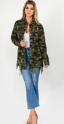 Distressed Camo Shirt Jacket