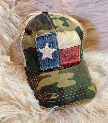 Camo Distressed Texas Flag Cap