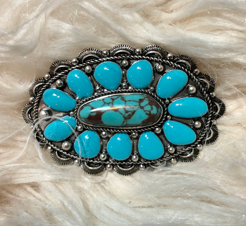 Turquoise Cluster Hair Barrette