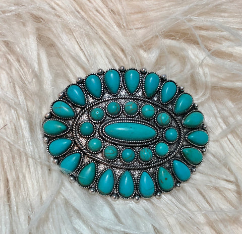 Large Turquoise Cluster Hair Barrette
