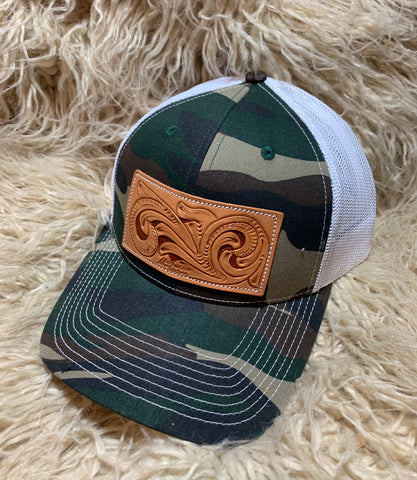 Camo Tooled Leather Patch Cap