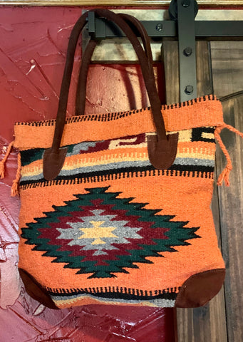 Burnt Orange Aztec Blanket Bag