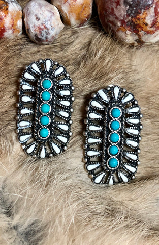 White Buffalo & Turquoise Cluster Post Earring