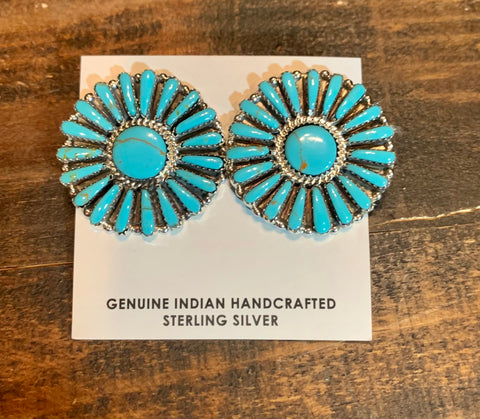 Authentic Navajo Turquoise Hoops