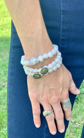 Buffalo Nickel & Pearl Bracelet