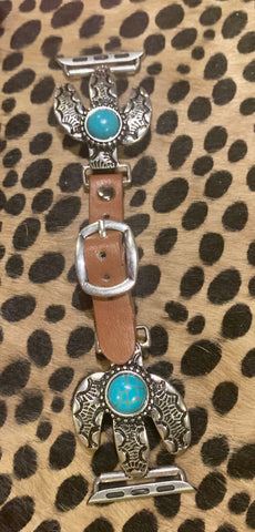 Silver & Turquoise Cactus Apple Watchband