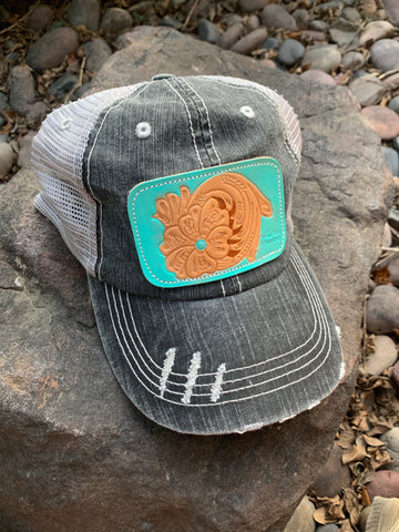 Turquoise Tooled Leather Patch Cap