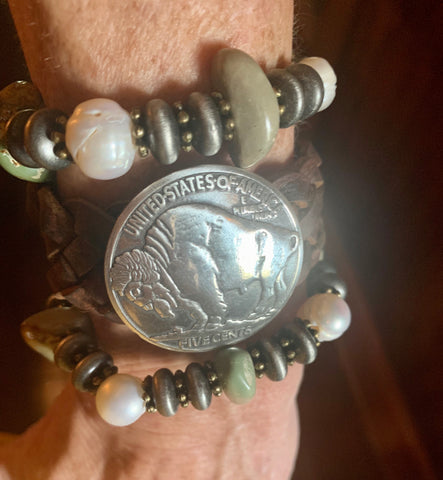 Braided Buffalo Coin Bracelet