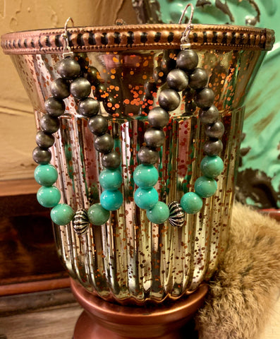 Turquoise Bead & Navajo Pearl Earrings