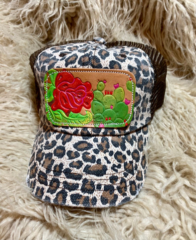 Leopard Leather Tooled Patch Cap