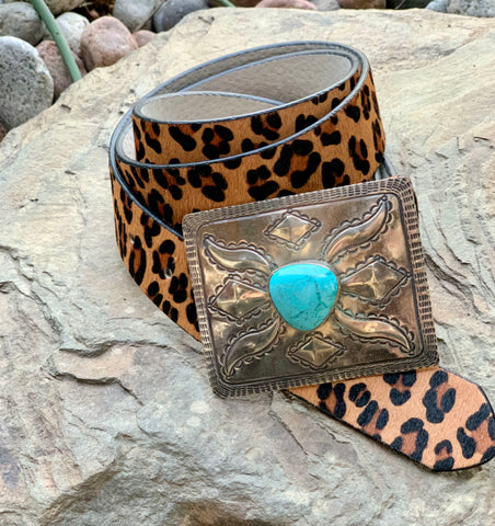 Rectangle Silver & Turquoise Buckle