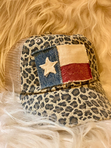 Distressed Tan Texas Flag Cap
