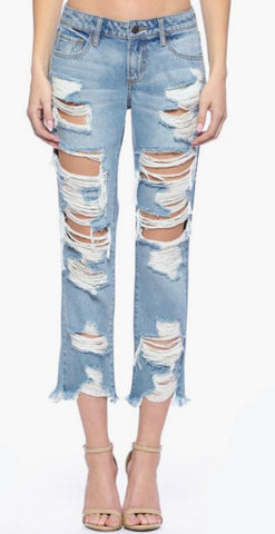 Distressed Boho Boyfriend Jeans