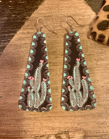 Painted Cactus Leather Earrings