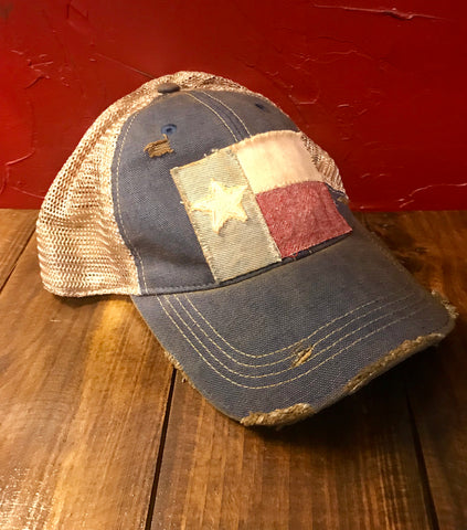 Denim Distressed USA Cap