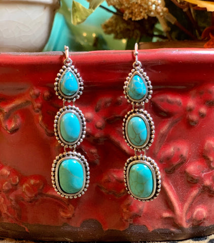 Triple Turquoise Dangle Earrings