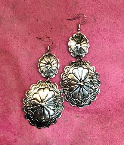 Silver Double Concho Earrings