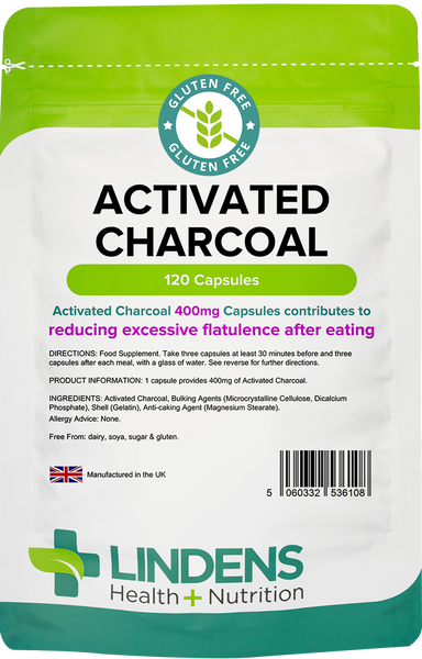Lindens Activated Charcoal Capsules (120) 400mg for Flatulence, Wind & Bloating