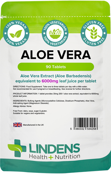 Lindens Aloe Vera Tablets 6000mg (90 or 360) for Skin, Hair, Joints & Digestion