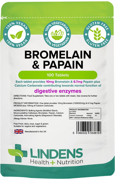 Lindens Bromelian & Papain Tablets, 10/100mg (100) Protein Digesting Enzymes