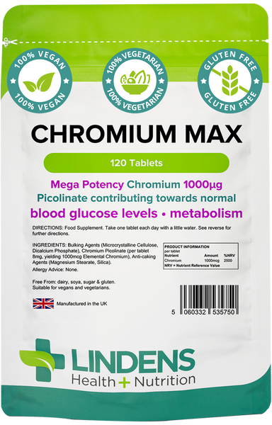 Lindens Chromium Max Tablets (120 or 360) For Blood Glucose Levels & Weight Loss