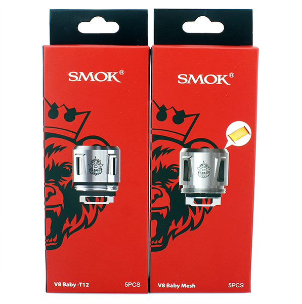 SMOK BABY PRINCE COILS, V8 Baby Q4, T12, Mesh, Strip, Pk 5 with QR Code