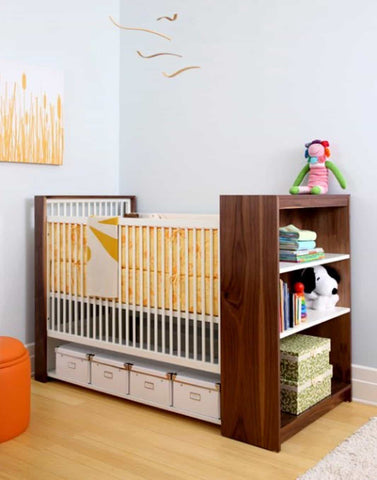 modified baby crib with built-in storage