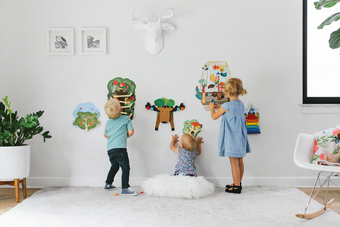 Oribel VertiPlay wooden wall toys spice up any nursery or play room and don't clutter floors!