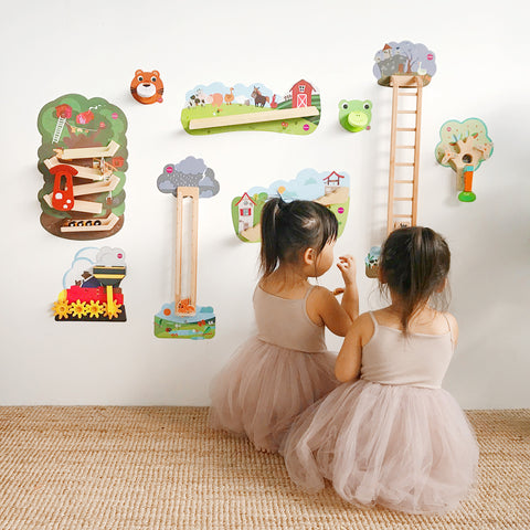 Leia & Lauren playing with Oribel's VertiPlay Wall Toys